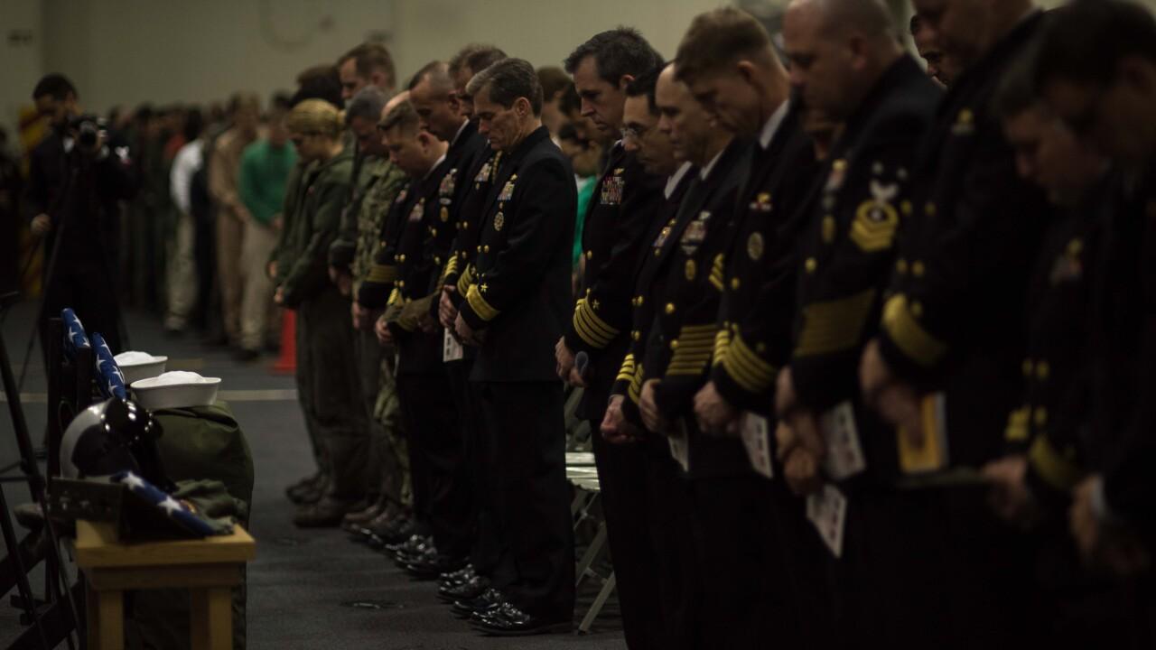 Memorial service held at sea on USS Ronald Reagan for three Sailors missing in planecrash