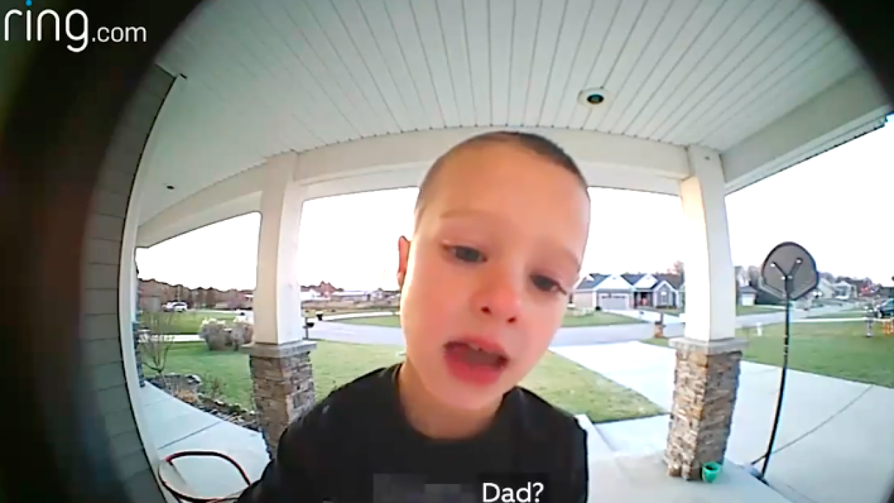 Watch: Kid uses video doorbell system to talk to his dad