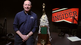 MND Coach Dr. Scott Rogers bring 2019 championship trophy to HS Insider podcast