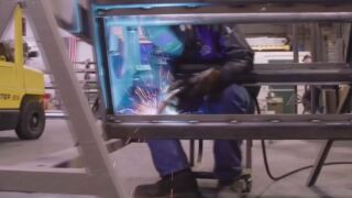 A student at Pikes Peak Community College welding.