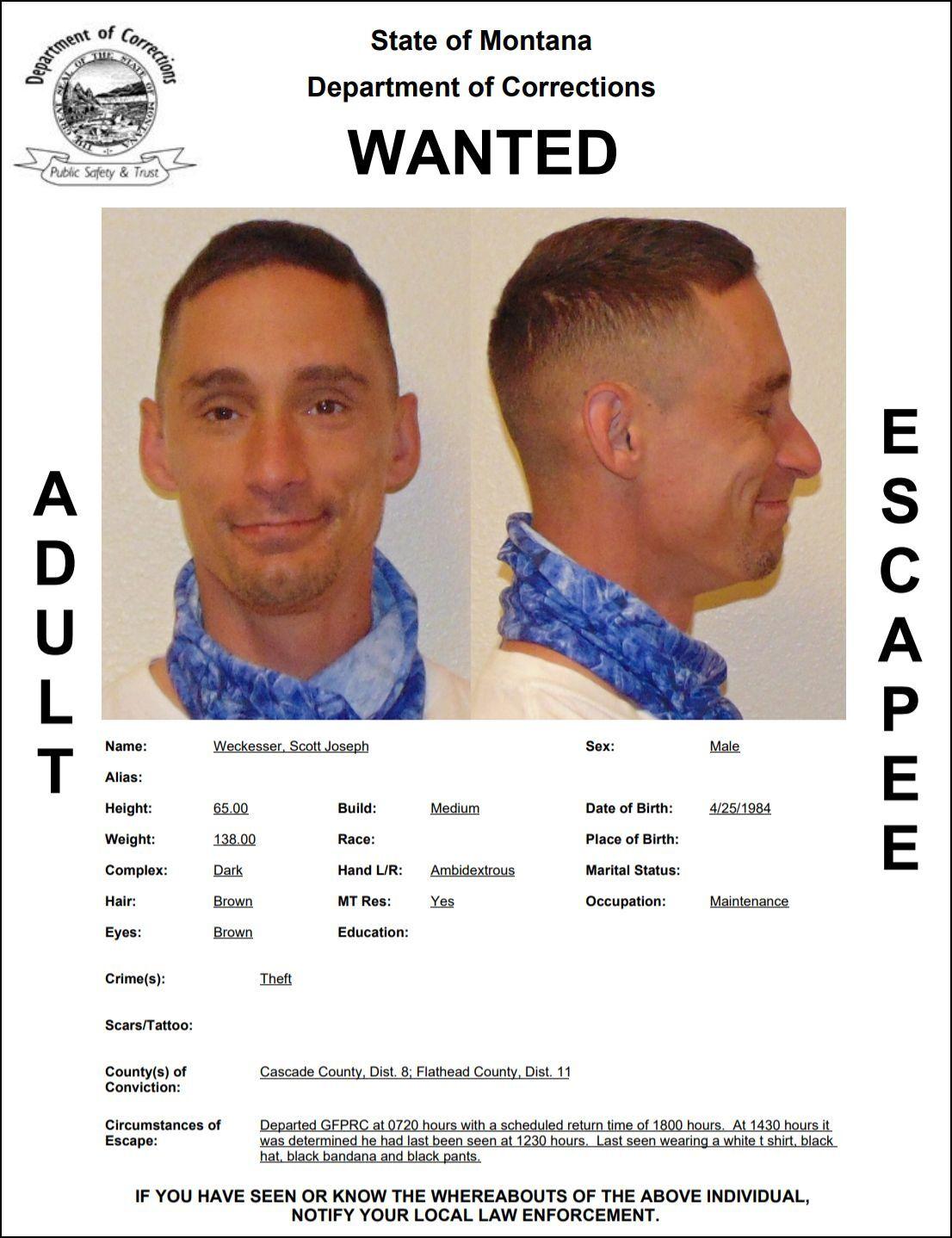 Weckesser reported as escapee/walkaway