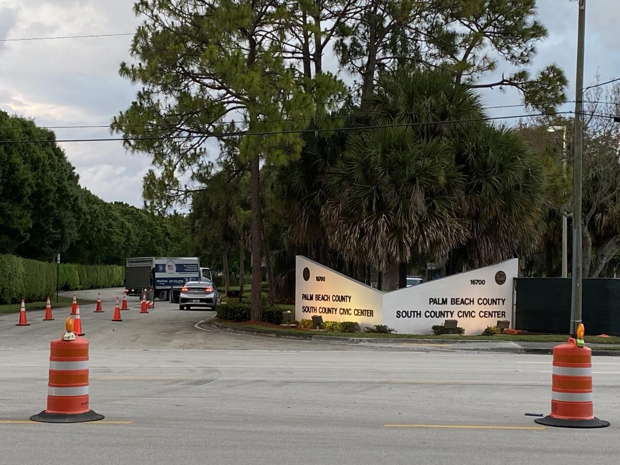 South County Civic Center entrance on eve of coronavirus testing