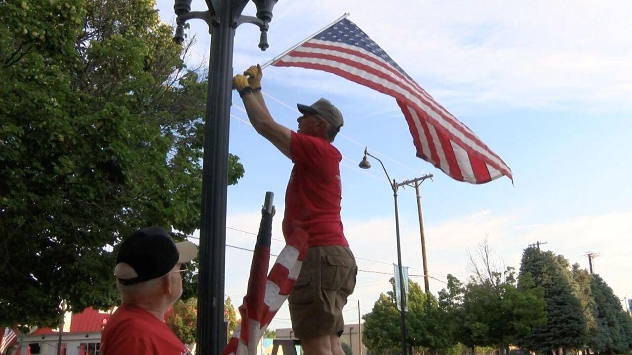 American Legion hangs flags in downtown Great Falls