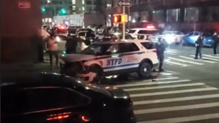 Queens police car crash