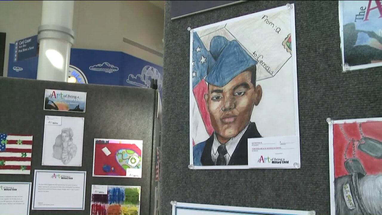 Local kids depict life as a military child in special art exhibit at Lynnhaven Mall