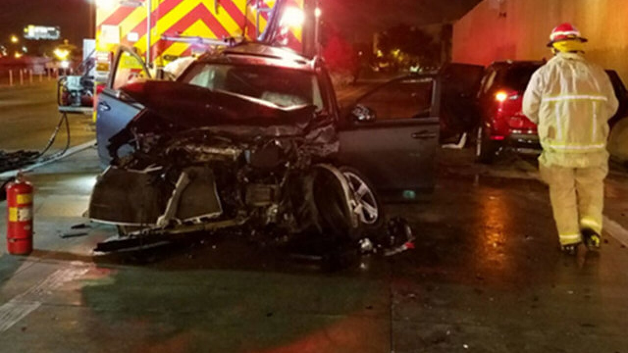 Firefighters hurt in fatal crash on NB I-95 in Miami