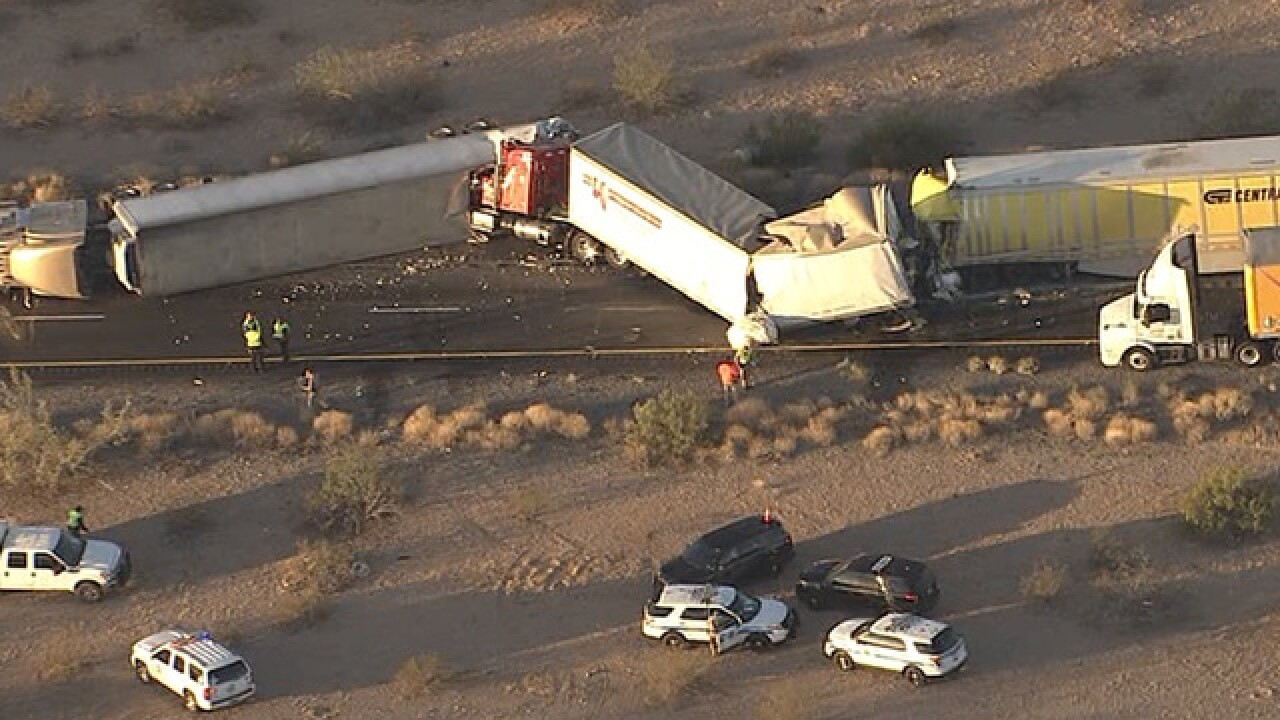 tonopah semi truck crash one dead in crash on i 10 west of phoenix