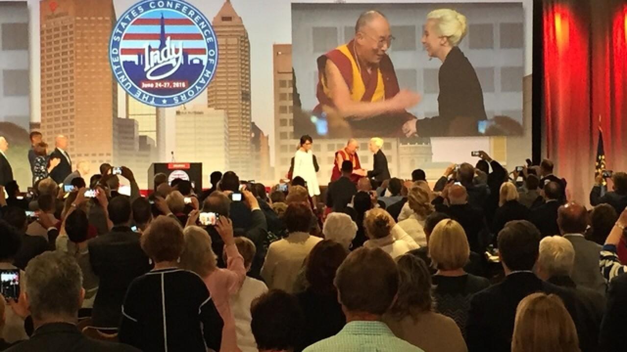 PHOTOS: Dalai Lama & Lady Gaga at Mayor's Conf.