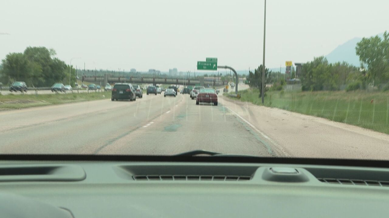 Southbound I-25 approaching Fillmore Street