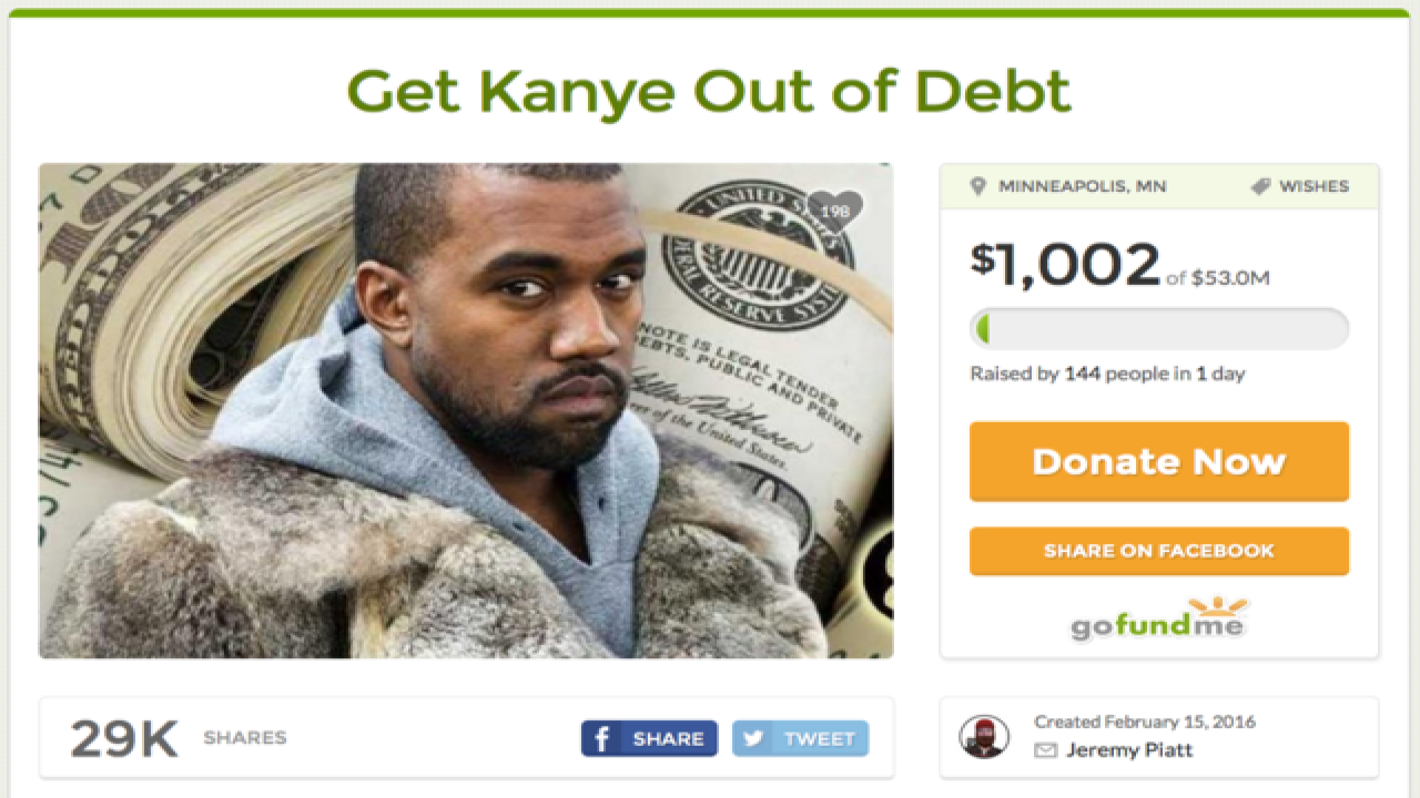 GoFundMe to help Kanye West get out of $53M debt