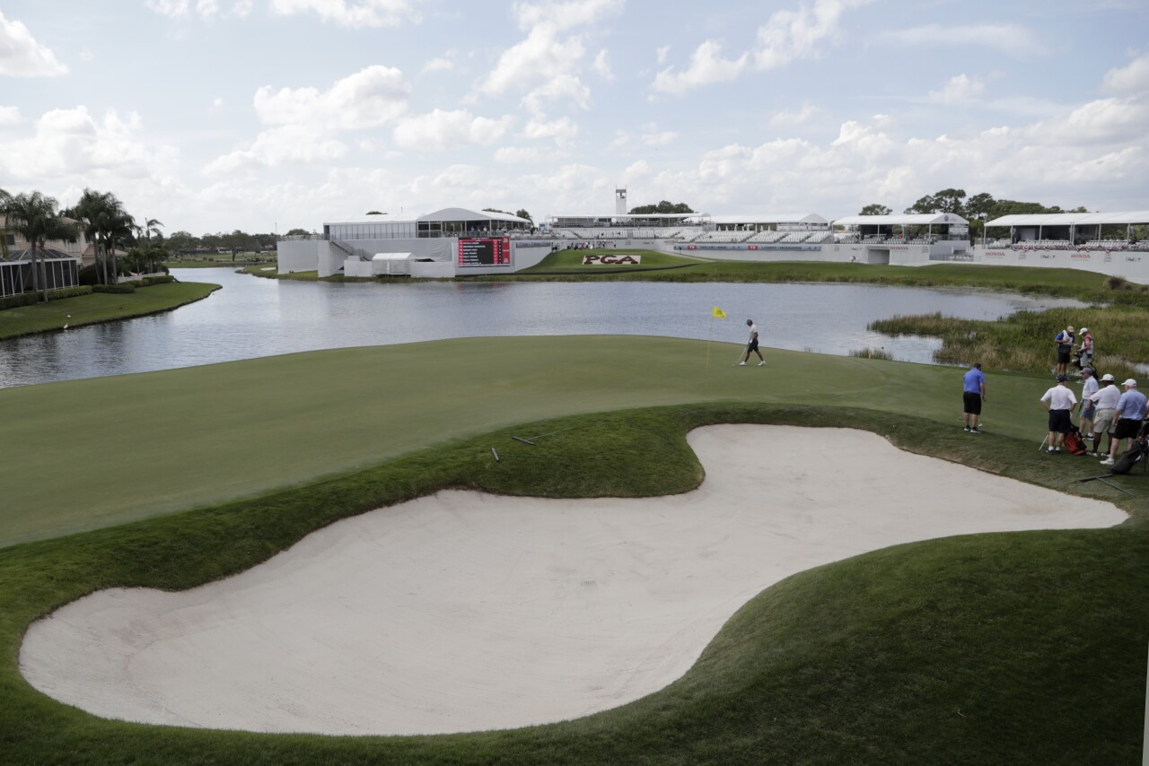 Rickie Fowler on 17th green during Honda Classic Pro-Am event at 'Bear Trap' in February 2020