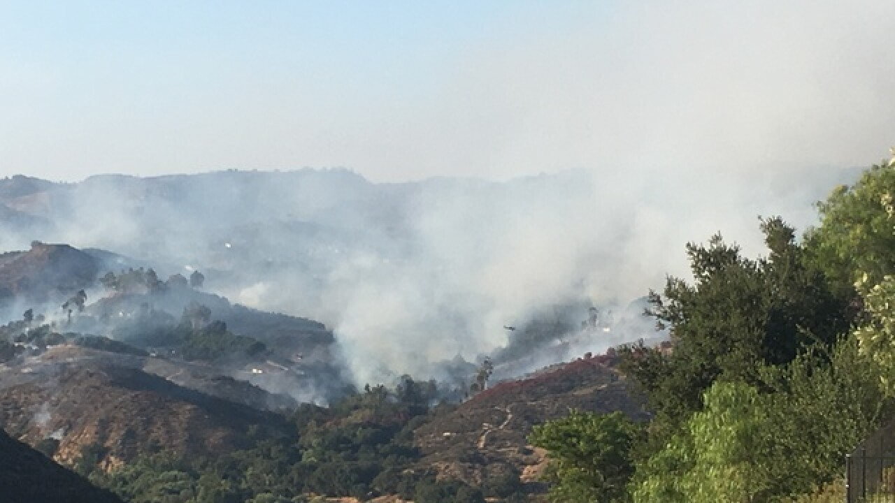 Rock Fire burns in Fallbrook