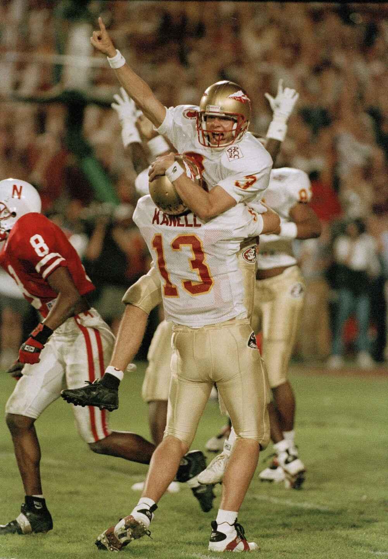 Florida State Seminoles kicker Scott Bentley celebrates with Danny Kanell after kicking game-winning field goal vs. Nebraska Cornhuskers in 1994 Orange Bowl
