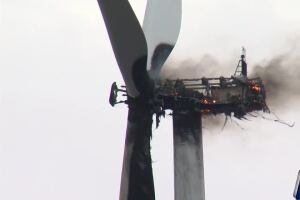 Wind turbine catches fire between Taft and Portland