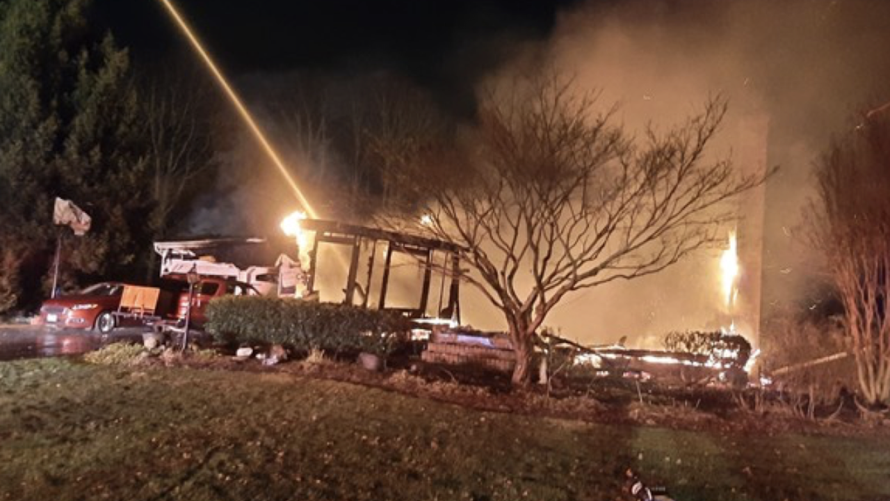 A fire destroyed a home in the 3400 block of Widows Care in Fallston on Tuesday night