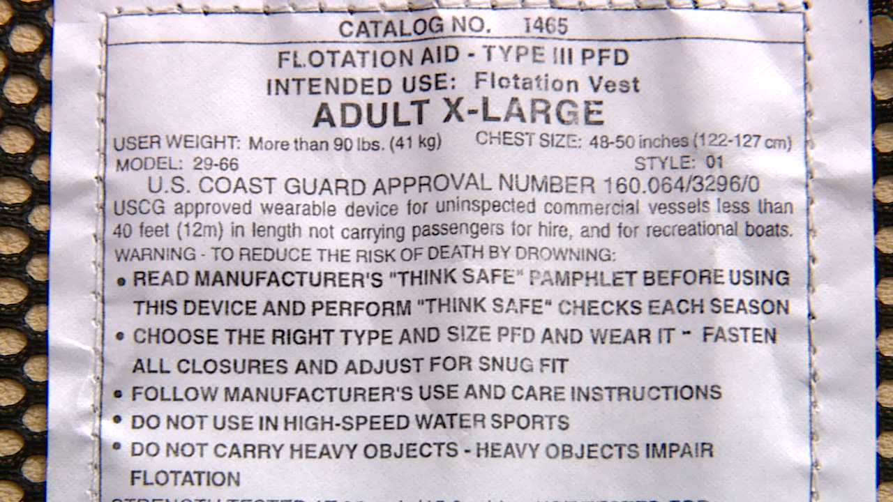 life jacket label