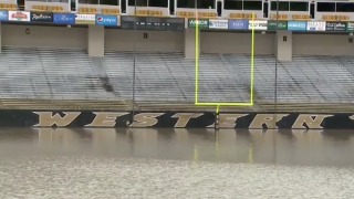 It rained so much that a football stadium turned into a swimming pool