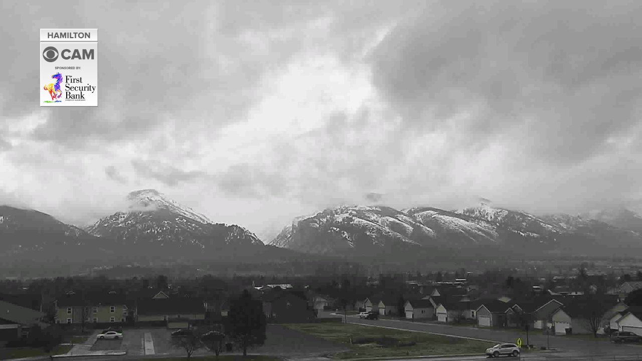 Snowing in the Bitterroot mountains and valley Friday
