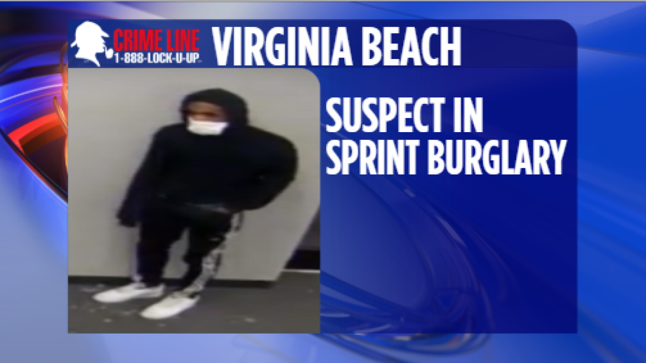 Virginia Beach police trying to identify suspect in Sprint store burglary