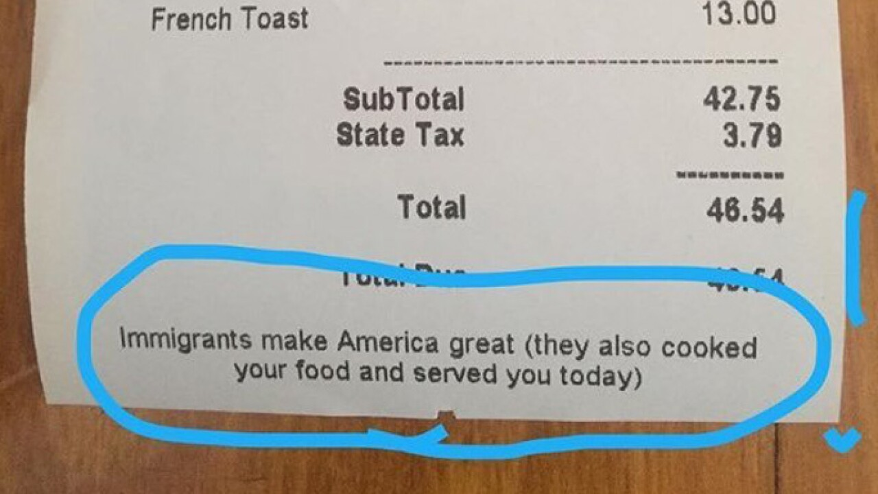 'Top Chef' alum adds note to receipts: Immigrants make America great