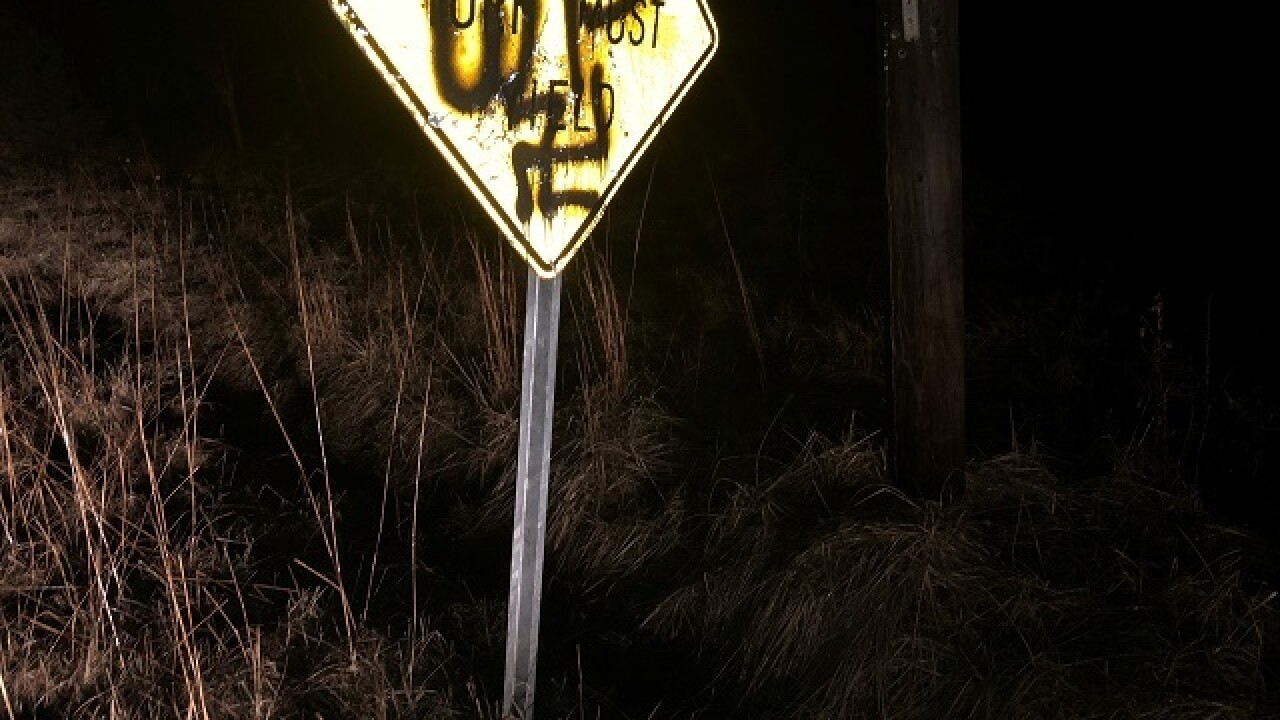 Road signs painted with swastikas, graffiti, nudity and profanity in Bartholomew County