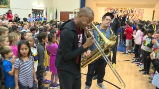 Trombone Shorty shares sweet sounds, sound advice with Short Pump students