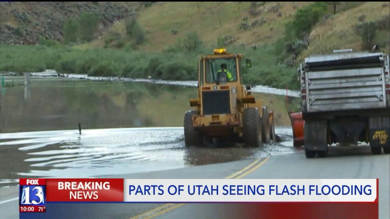Flash floods, mudslides force U.S. 89 closure at Thistle,Birdseye