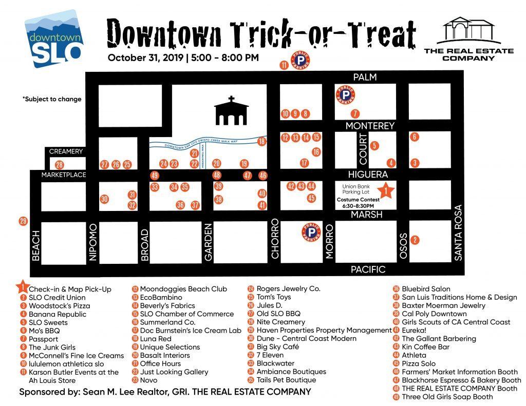 Map of Downtown SLO Farmers' market Halloween festivities tonight.