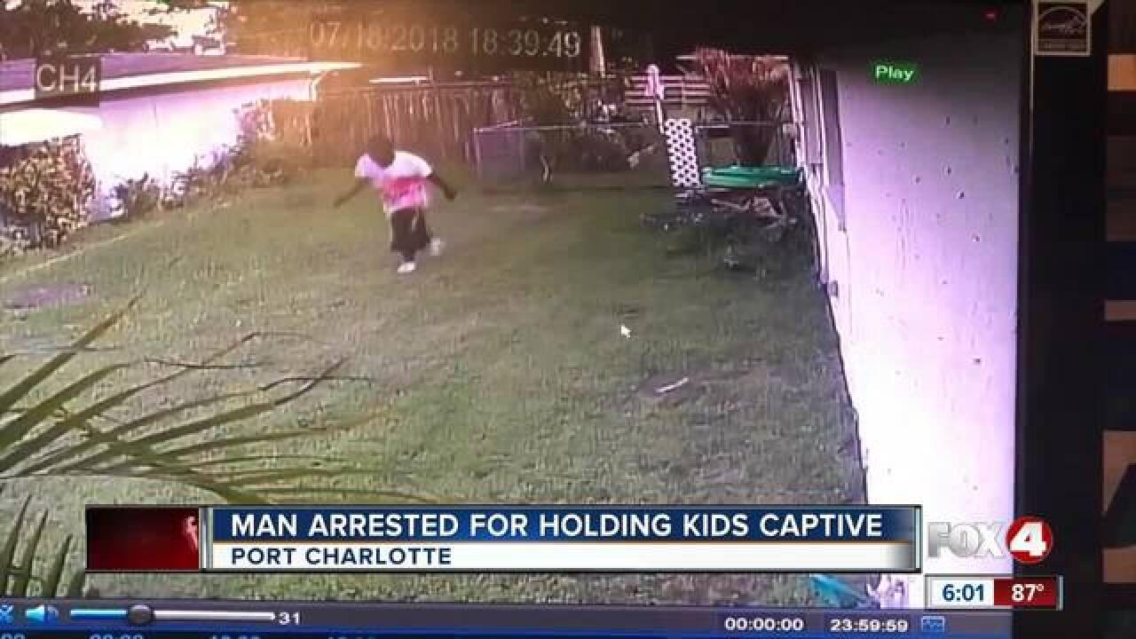 Bloodied man locks himself in bathroom with kids