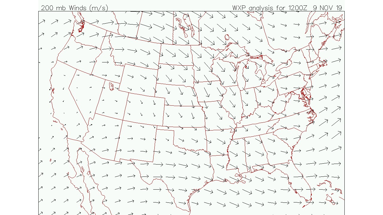 Upper level Jet Stream Winds