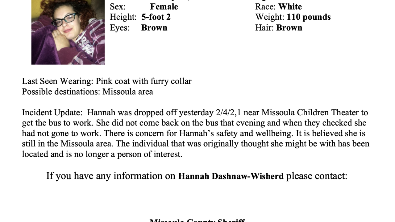 Missing and Endangered Person Advisory for Missoula teen