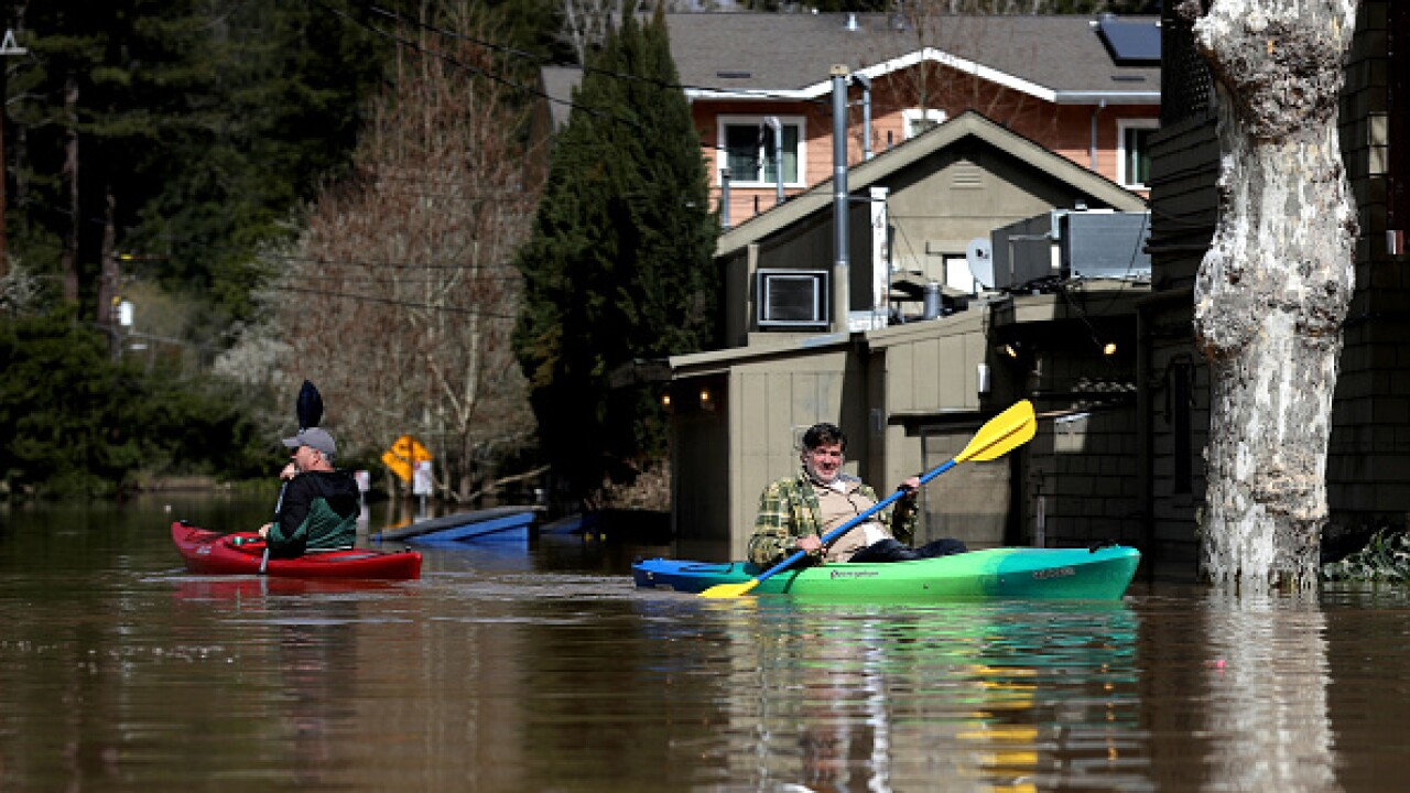 "Sonoma County Town Of Guerneville Inundated With Flood Waters From ""Atmospheric River"" Weather System"