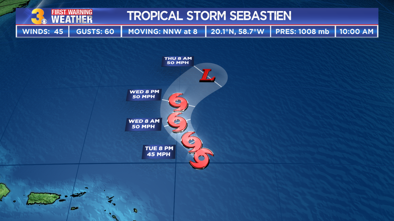 Tropical Storm Sebastien forms in the Atlantic