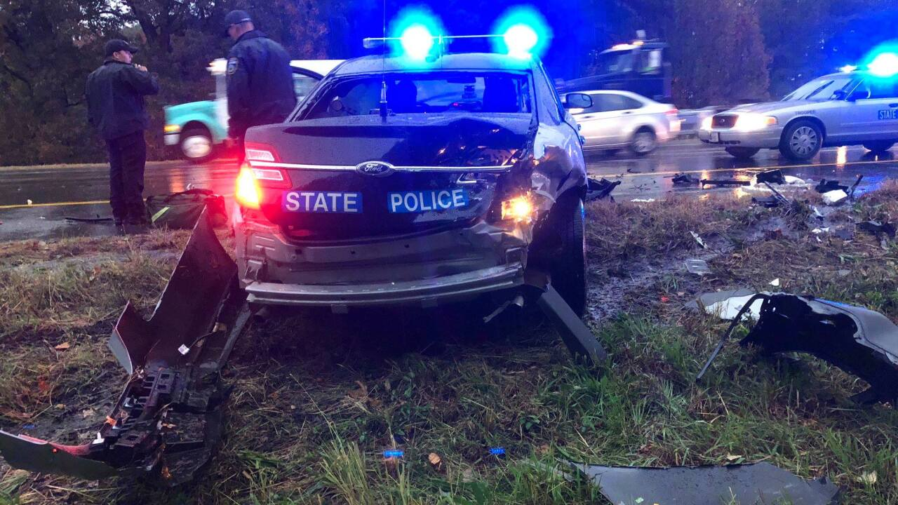 Driver with suspended license slams into Virginia State Trooper