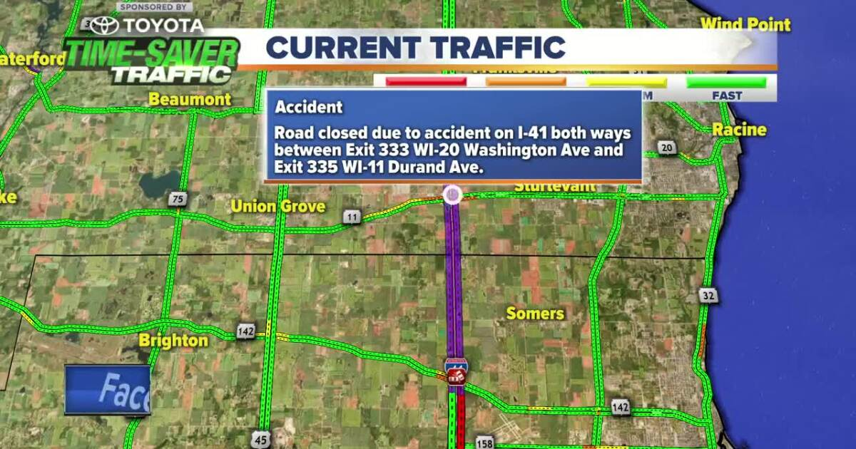 Southbound lanes of I-41 closed near Racine due to crash ... on interstate 65 map of united states, thruway exit maps, interstate highway map of all, interstate 4 florida map, interstate 81 map, interstate highways in alabama,