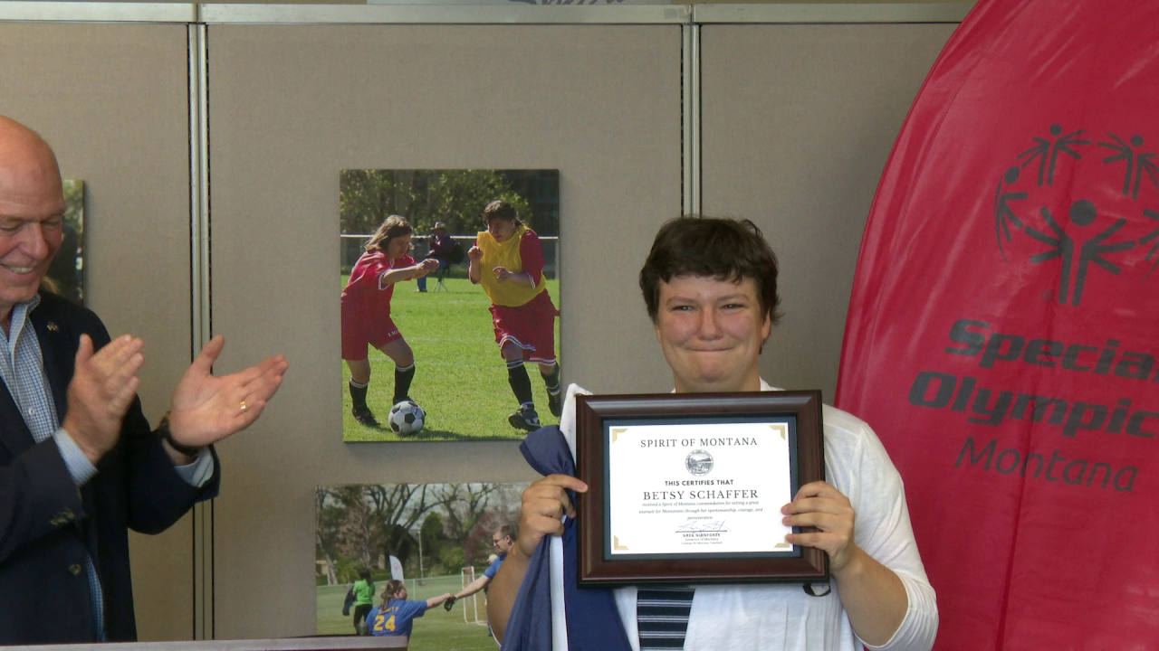 """Betsy Schaffer, Special Olympics Montana's 2020 Athlete of the Year, received the """"Spirit of Montana"""" commendation"""