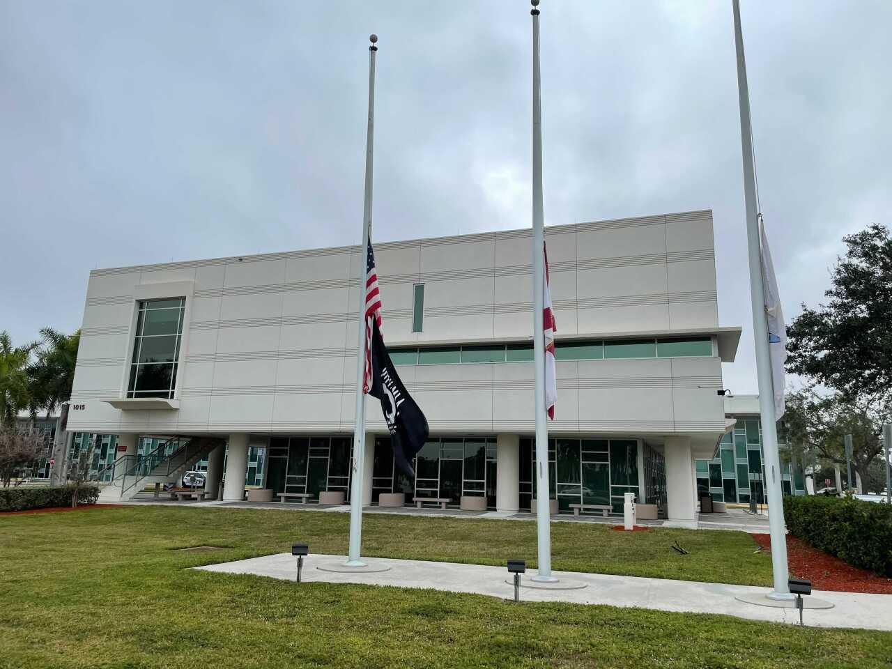 Cape Coral city hall flag half staff