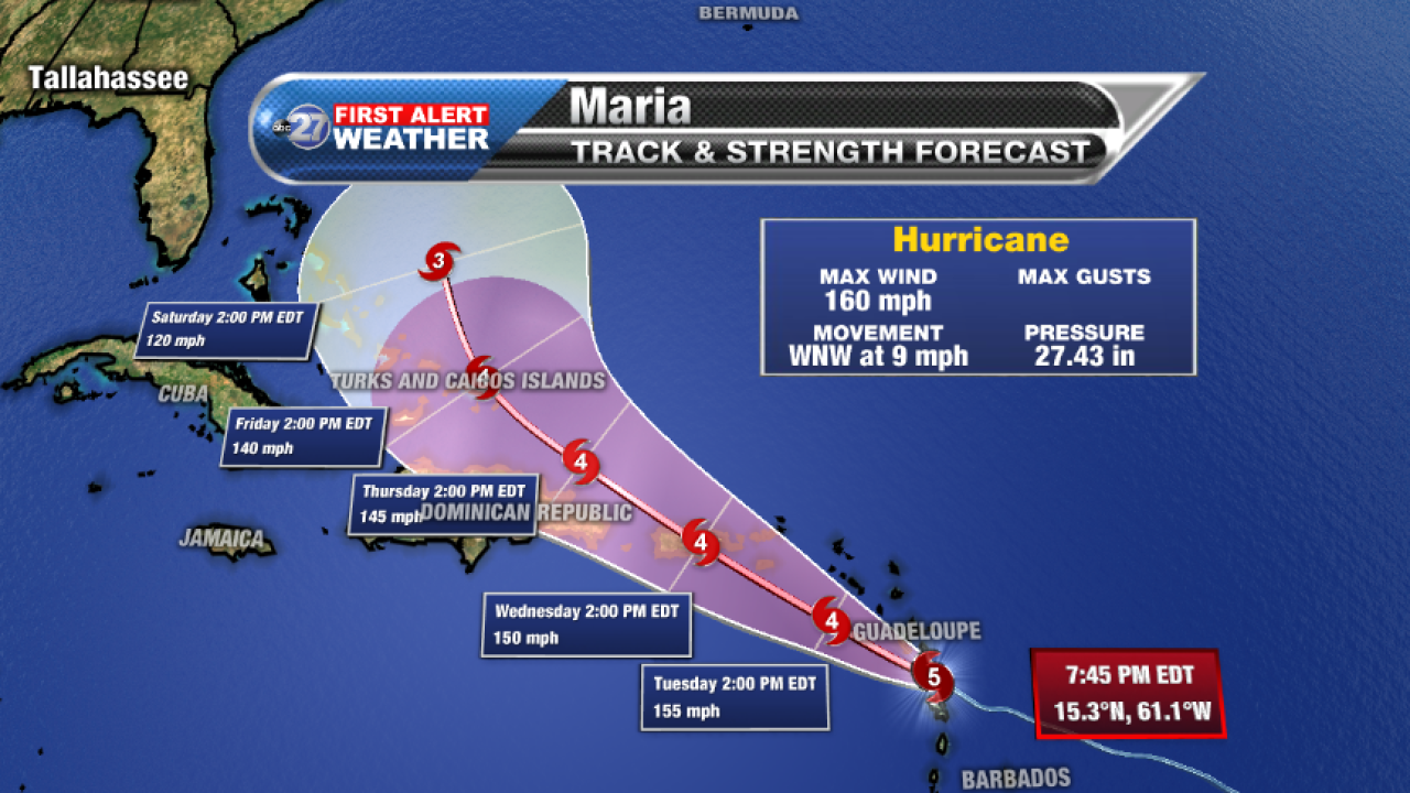 Hurricane Maria forecast cone, Monday 9/18/2017 8 pm