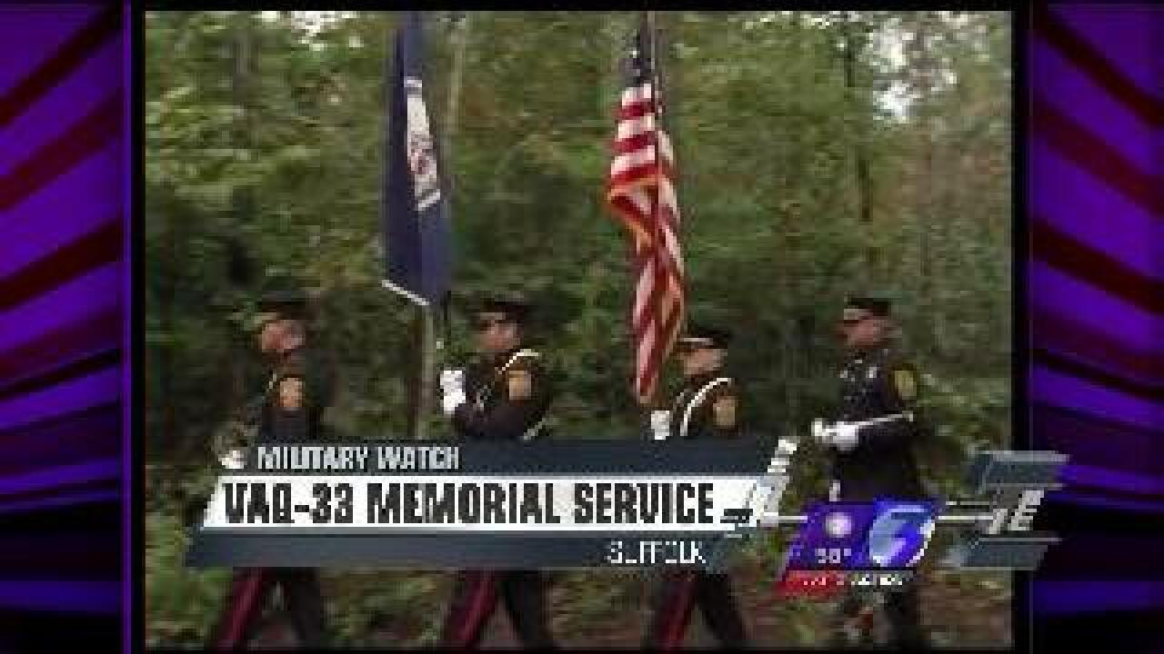 Suffolk Fire and Rescue Honor Guard presents colors at VAQ-33 memorial service