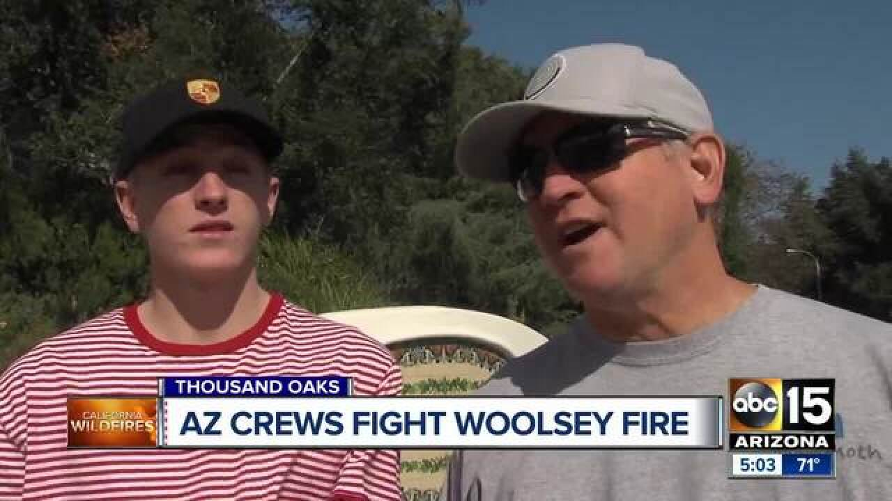 AZ crews working to contain Woolsey Fire in CA