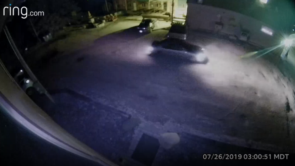 Video footage shows a smaller light-colored, possibly silver or gray, sedan with a loud exhaust in the area during the time of the robbery. (Courtesy of the Carbon County Sheriff's Office)