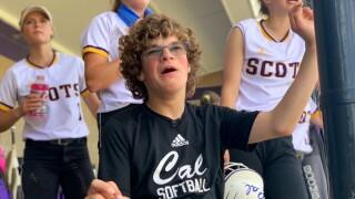 Dakota Tomac looks on during a Caledonia softball game