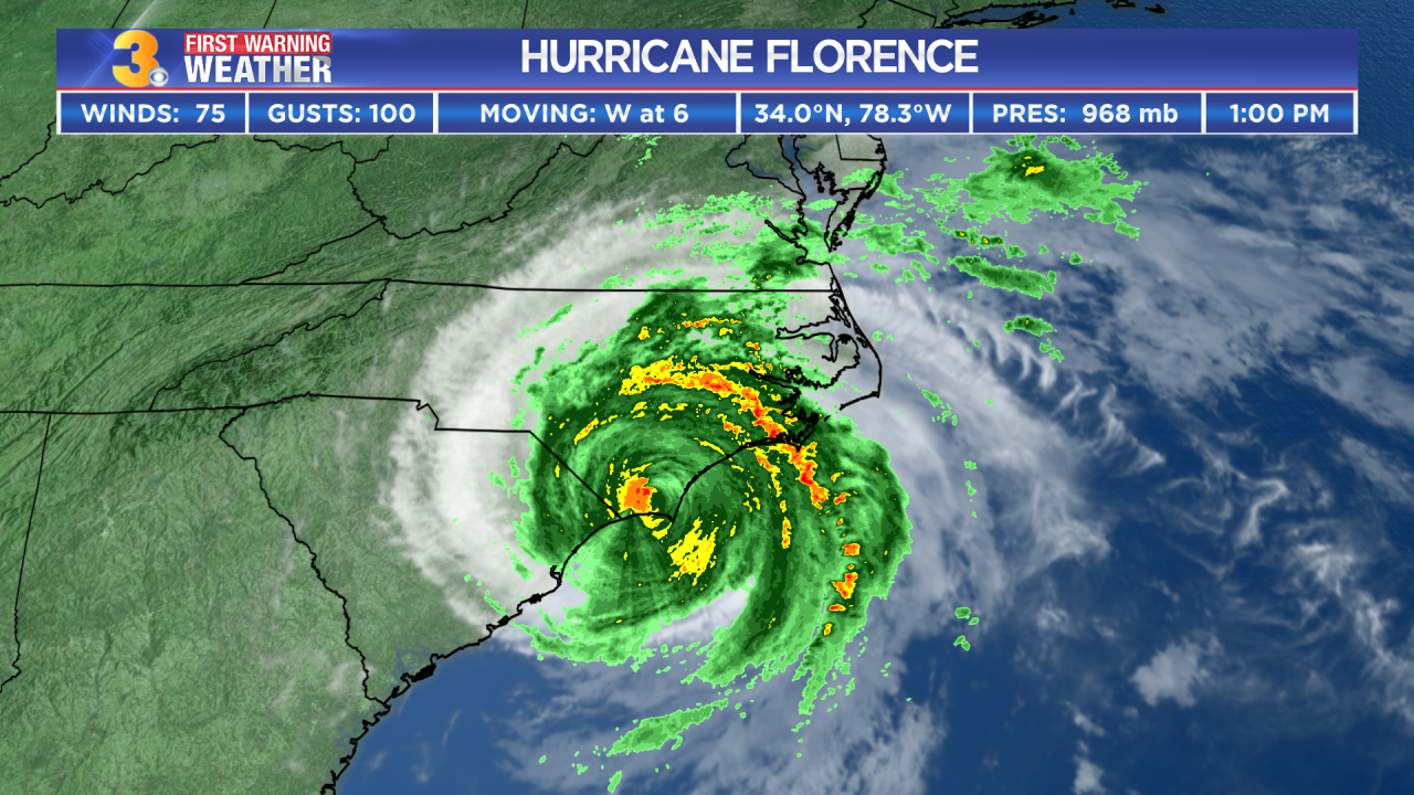 First Warning Forecast: Wind and rain bands from Florence continue to impact the area