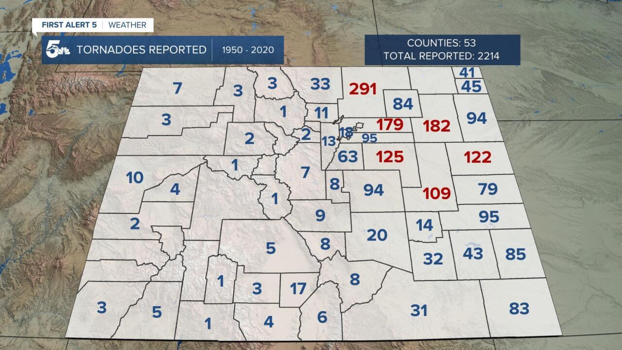Tornado reports by County Colorado