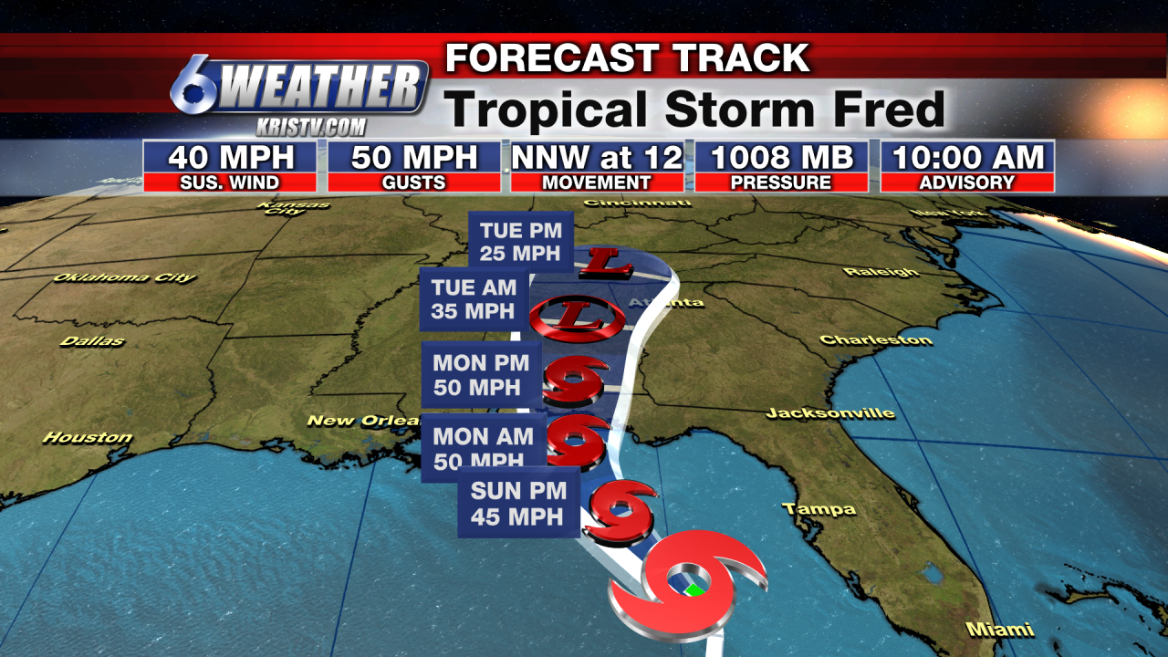 Forecast Track for Tropical Storm Fred as of 4AM 8-16-21