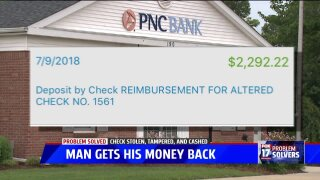 Problem Solved: PNC Bank refunds $2,300 to Alpine Twp. man, reversing denial