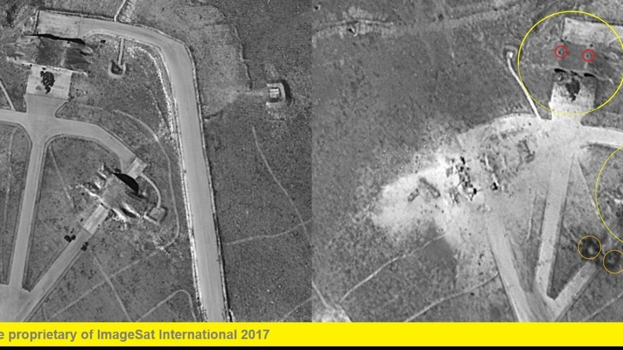 Satellite images show before, after US strikes on Syrian base