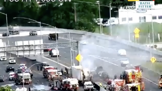 I-95 at I-695 Tractor Trailer crash fire