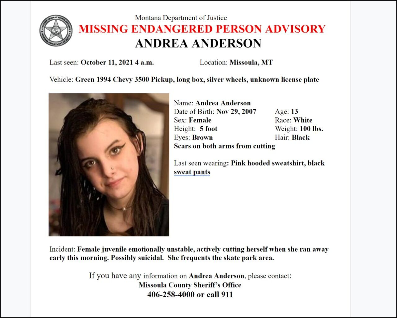 Missing-Endangered Person Advisory for 13-year old Andrea Anderson
