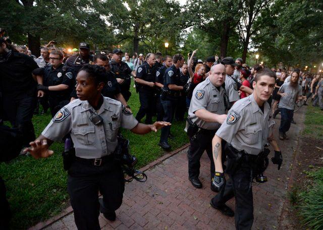 Photos: Protesters topple Confederate statue at University of North Carolina at Chapel Hill
